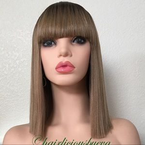 Bob wig with bangs ombré dark roots honey blonde